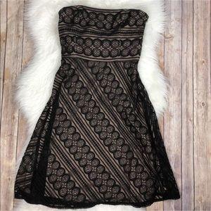 Loft Black Lace Strapless Dress